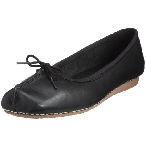 Clarks Freckle Ice, Damen Geschlossene Ballerinas, Schwarz (Black Leather), EU 41, (UK 7)