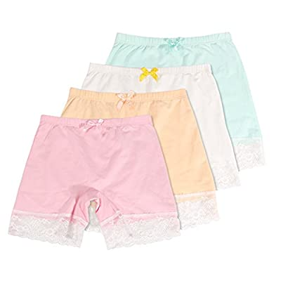 Girls Lace Underwear Briefs, Dance, Bike Shorts,4 Packs Safety Legging Panties-for Sports or Under Skirts Pink