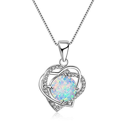 RQWY Collar Hot Love Heart Opal Collares Pendientes Plata Color Joyas Encanto Regalo del Día de la Madre