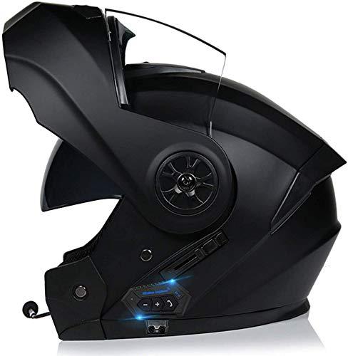 XLYYHZ Casco Bluetooth para Motocicleta, Casco Completo Modular con Visera Solar Doble Tipo abatible, Casco Certificado por Dot, Respuesta automática Manos Libres A, XL