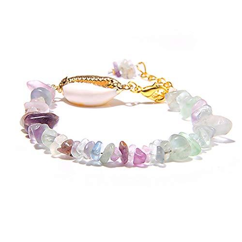 SBKJL Pulseras De Mujer Pulseras De Amatista De Fluorita Púrpura Natural Pulsera De Amazonita Shell Charm Chip Beads Pulseras De Cristal