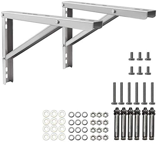 popmoon Wall Mounting AC Brackets up to 440lb/200kg Split Air Conditioner Bracket 26 5/8' Lx16 H Bracket Air Conditioner Bracket Set Adjustble 9000 Btu to 36000 Btu