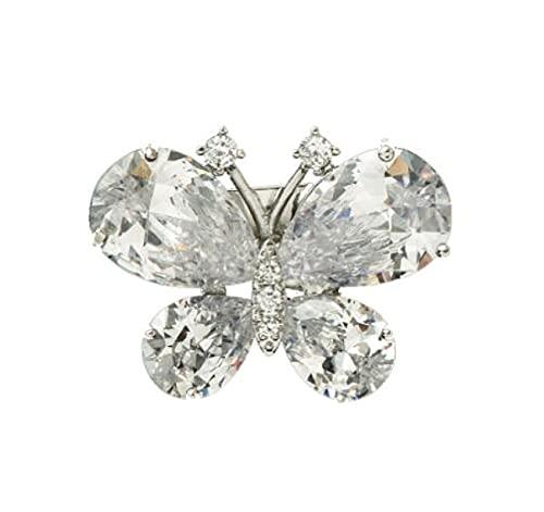 MENGHUA Pequeño broche fresco de circón mariposa pequeño estilo de hadas antiescape diario simple y elegante pequeño pin