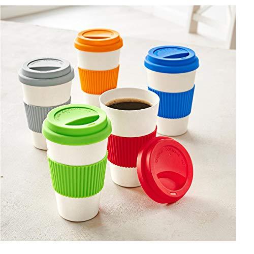 PureDay Kaffeebecher, 400 ml Bambus - Silikonbanderole - Rot