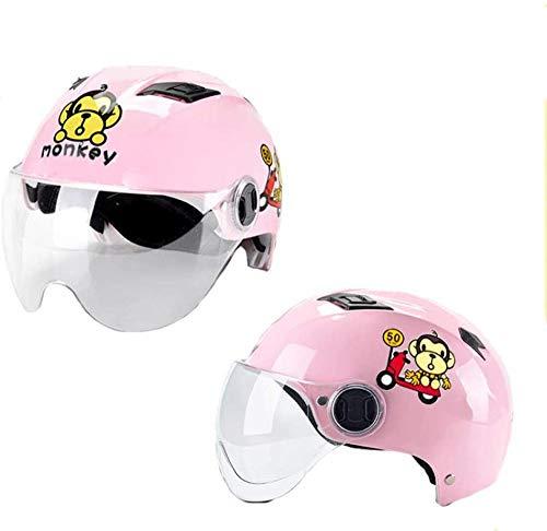 ewrwrwr HNLong Kinderbatterie Motorradhelme Männliche und weibliche Halbhelme Süße Sommerhelme Transparente Kurze Gläser-Pinker AFFE_54-60cm