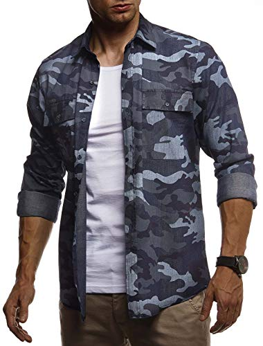 Leif Nelson Herren Hemd Freizeithemd T-Shirt Langarm 100% Baumwolle Männer Langarmshirt Oversize Jeanshemd Jungen Basic Shirt Kurzarmshirt Camouflage Sommerhemd LN3850 Blau Large
