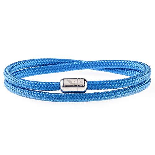 Wind Passion Pulsera Azul Magnética de Paracord Trenzada Cuerda para Hombre y Mujer, Tall Medium