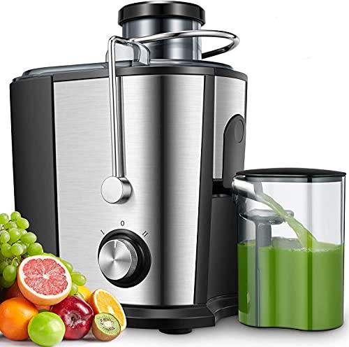 Licuadoras Para Verduras y Frutas, 600W Licuadora Con 65MM de Boca Ancha, Extractor de Jugos Acero Inoxidable de Grado Alimenticio Llibre de BPA, Doble Velocidad con Función Aanti-goteo