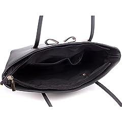 Wedmay Womens Designer Black Large Tote Bag for Laptop Travel Shoulder School Handbag (Black) #5