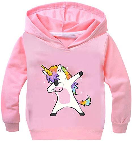 OLIPHEE Felpa con Cappuccio Stampato di Animato Unicorno Carino Felpa Sottile per Bambine e Ragazze Rosa 150