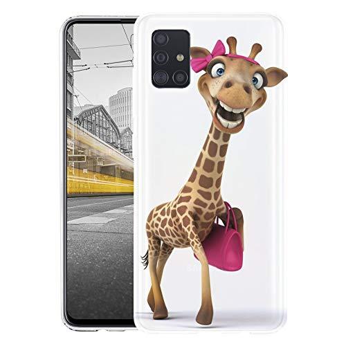 KX-Mobile Hülle für Samsung A51 Handyhülle Motiv 1617 Giraffe lustig mit Handtasche Pink Premium Silikonhülle SchutzHülle Softcase HandyCover Handyhülle für Samsung Galaxy A51 Hülle