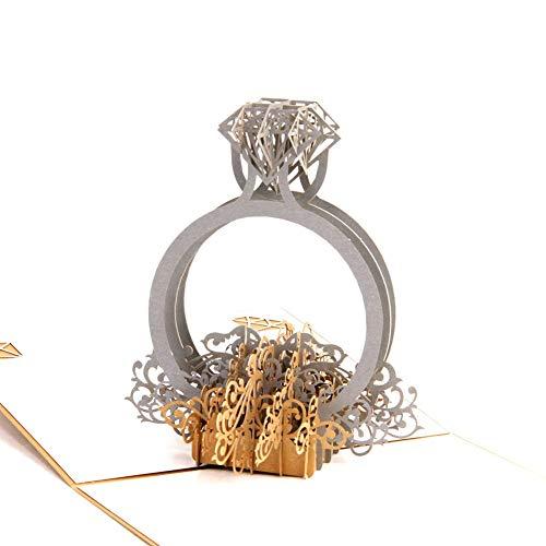 MoreLucky Ring Pop up Valentijnsdag Kaart Bruiloft Verjaardag 3D Liefde Verjaardag Valentijnsdag Wenskaarten trouwkaart met Envelop