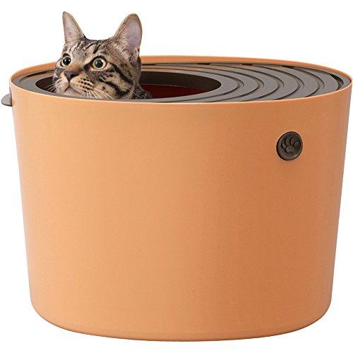 アイリスオーヤマ 猫用トイレ本体 上から猫トイレ (飛び散らない) オレンジ プチ