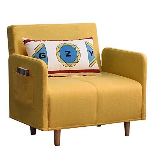 Sofá Lazy Couch Cama Plegable Individual Cama de Almuerzo Cama Individual en el hogar Cama Simple Cama de Oficina Siesta Cama Cama Múltiples Colores (Color : Yellow)