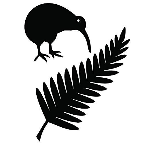 LJINGMING Auto Aufkleber Kiwi Vogel Und Farn Neuseeland Vinyl Aufkleber Für Auto Kreative Styling Aufkleber Schwarz 11,4 * 15Cm Kinder Freunde Liebhaber 2PCS