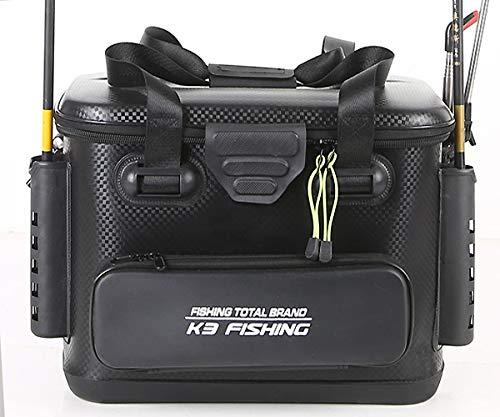 ハードタイプ 耐久性抜群 バッカン EVA素材 ショルダーストラップ付 カーボン柄 ダブルファスナー ロッドホルダー 竿 防水 プライヤー ペンチ