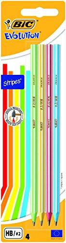 BIC Evolution Stripes HB Grafiet Potloden - Verschillende Kleuren Lichaam, Pak van 4 Stuks