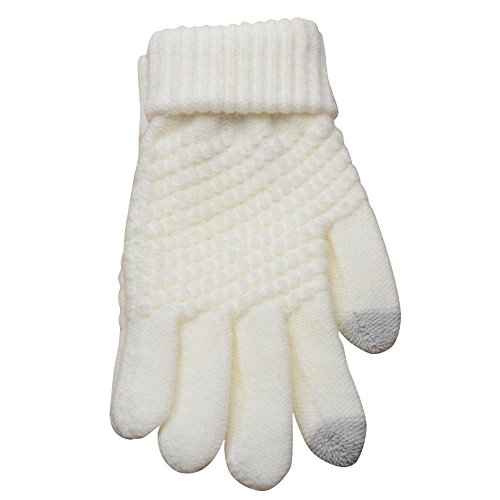 FAMILIZO Guantes Lana de Tejer Invierno Mujer Hombres, mujeres tejidas de lana mantienen guantes de mitones calientes de invierno (Blanco)