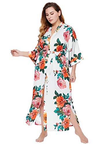 Coucoland Bata de verano para mujer, tallas grandes, albornoz largo con estampado de flores, vestido de playa para mujer, de satén, para dormir Blanco Talla única