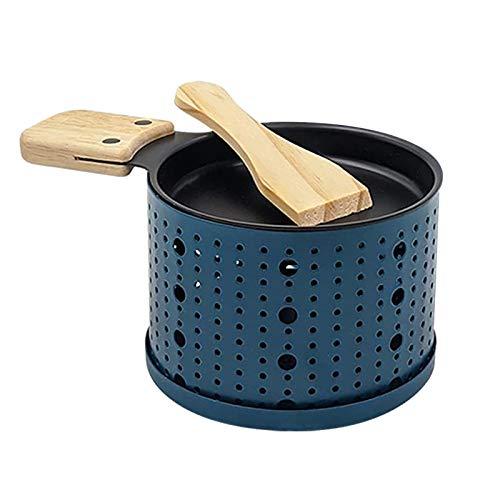 Käse Griller Käse Schmelzgerät Tragbar Kerzenlicht Raclette-Metall Antihaft-Käsepfanne Rotaster-Backblech Grillwerkzeug Oven Cheese Cheese Bread Grill für die Heimküche (Blue)