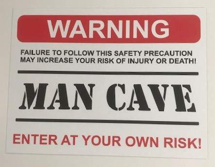 Funny Sign Warning Man CAVE Present House, Husband, Boyfriend, Son, dad - Self Adhesive Sticker 200mm x 150mm