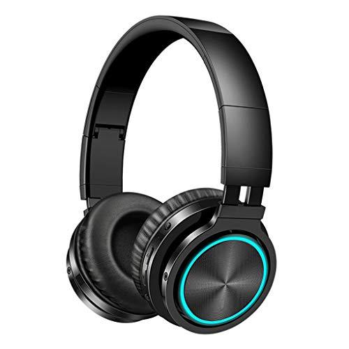 Shiwaki Auriculares estéreo Bluetooth Ligeros y Plegables Ideales para Uso en la Oficina/centros de Llamadas/Conductores de Camiones/Skype y reunión de Zoom - Negro