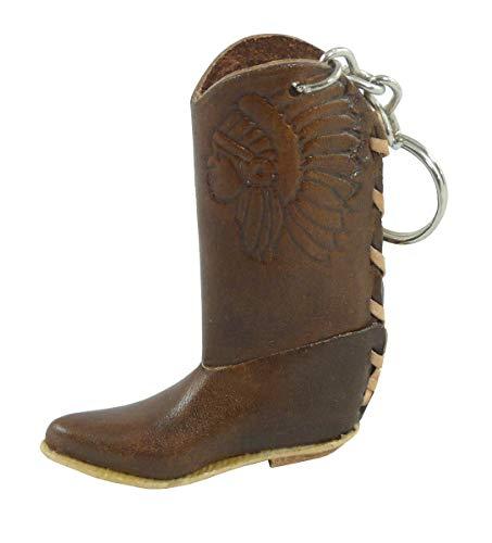 Rodeo Ready Schlüsselanhänger Cowboystiefel Westernstiefel Cowboy Boots aus Leder Western Cowboy Leder Schlüsselring Taschenanhänger Keychain - Handarbeit versch. Farben (dunkelbraun)