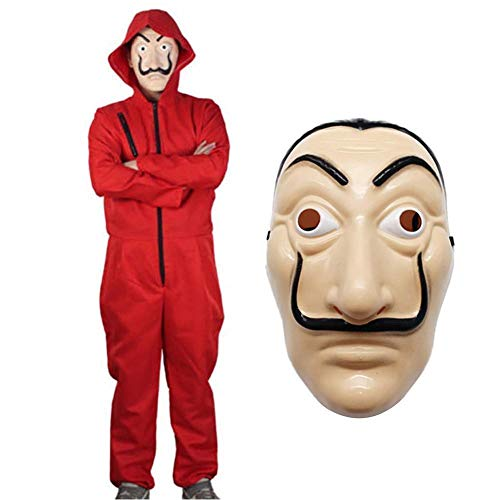Unisex Halloween La Casa De Papel Kost¨¹m Hoodies Overall mit Gesichtsmaske Cosplay Rollenspiele Dress Up Party Erwachsene Rot Overall Overall Einteiliges Cosplay Outfit