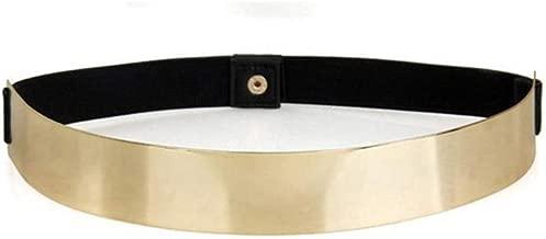 HaoPiDai Gold Belts For women Dresses Fashion Belts For women Waist Belt Metal Palte Elastic Chain