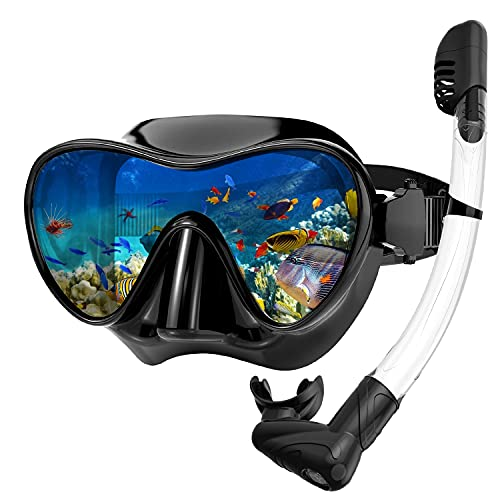 Rodicoco Snorkel Set Frameless Snorkel Goggles Foldable Snorkel Gear Detachable Snorkel Mask with 180Degree Panoramic View and Anti Fog Tempered Glass for Swimming Scuba Diving Snorkeling(Black, L)