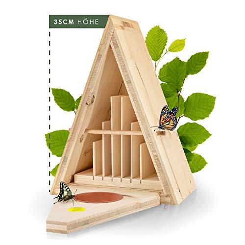 Martenbrown® Schmetterlingshaus/witterungsbeständiger Schmetterlingskasten aus FSC zertifizierten & massiven Fichtenholz. Nachhaltiges...