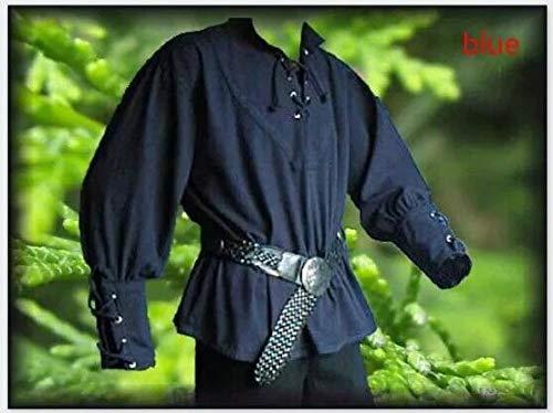 WSJDE Männer Mittelalter Renaissance Bräutigam Pirate Reenactment LARP Kostüm Schnürung Shirt Bandage Top Mittelalter Kleidung für Erwachsene 3XL XXL Navy Blue
