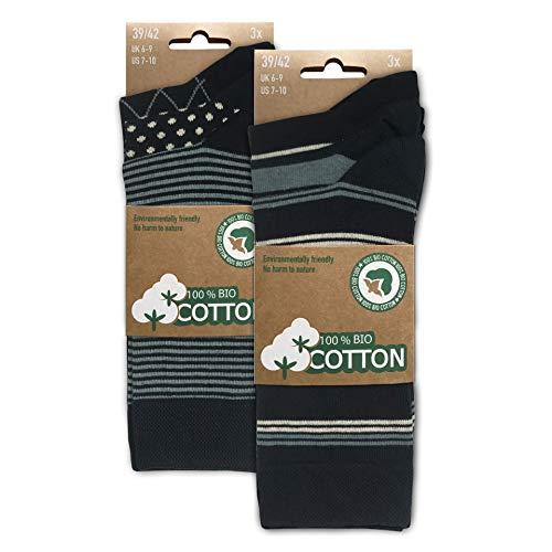 BIOBASICS Herren 100% BIO Baumwolle Socken Sensitiv Komfortbund Business-Socken ohne Gummi (6 Paar) Blau Muster 39-42