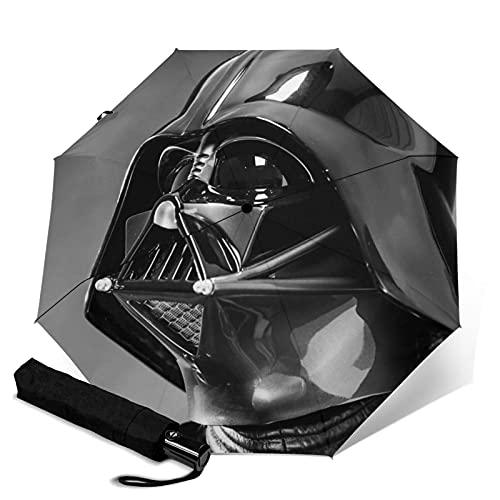 Star Mandalorian Wars Darth Vader Paraguas automático portátil de tres pliegues, cortavientos impermeable anti-UV, paraguas plegable compacto y portátil