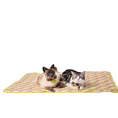 NACOCO Pet Cooling Mat Cat Dog Cushion Pad Summer Cool Down Comfortable Soft for Pets and Adults (M, Yellow)