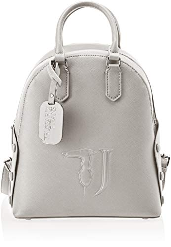 Trussardi Jeans Melissa Backpack Covered Studs, Zaino Donna, Argento, 26.5x30x11 cm (W x H x L)