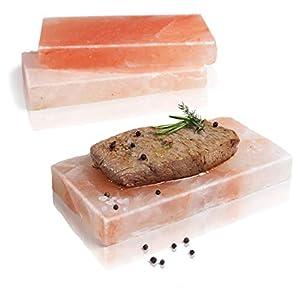 Amazy Plancha de sal para barbacoa (3 piezas) - Piedra de sal para cocinar carne y pescado a la sal para barbacoa o horno