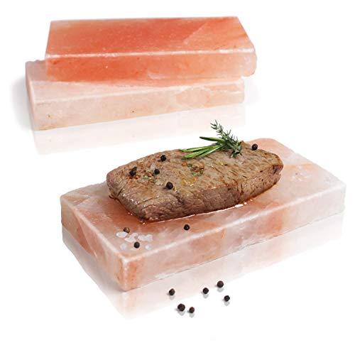 Amazy Planche en sel pour barbecue et grillades (3 pièces) – Plaque en sel pour préparation et présentation des viandes et poissons salés au grill ou au four