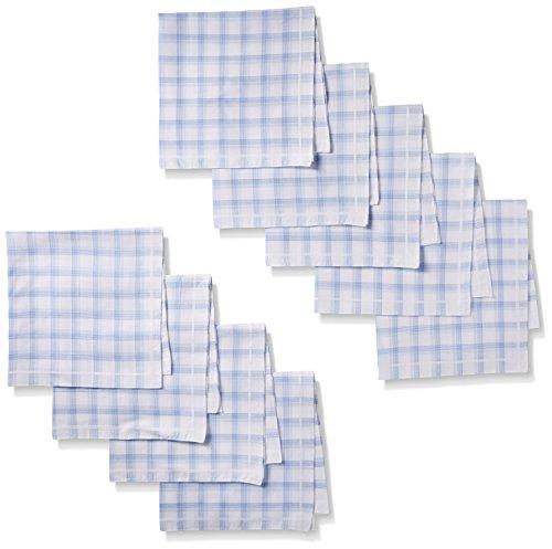 Dockers Men's 9 Piece Hankie Gift Set,Blue Plaid,One Size