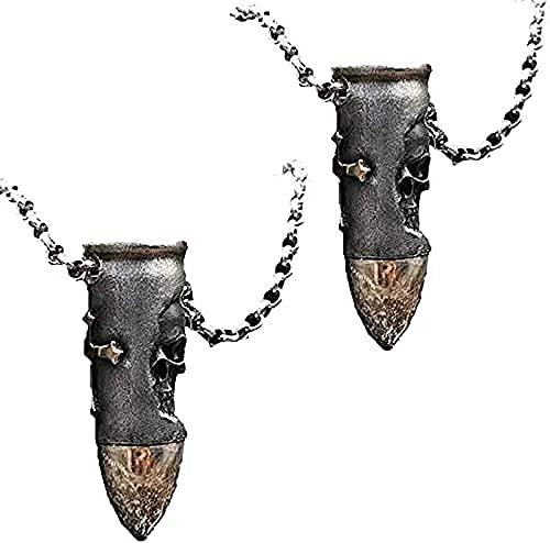AIKJ Collar con forma de bala de cráneo, colgante de bala con cráneos y cruces de acero inoxidable, 1 pieza