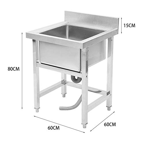 Commercial Sink Kitchen Wash Basin Stainless Steel 1 Compartment Hygienic Robust for Outdoor Indoor Garage Kitchen…