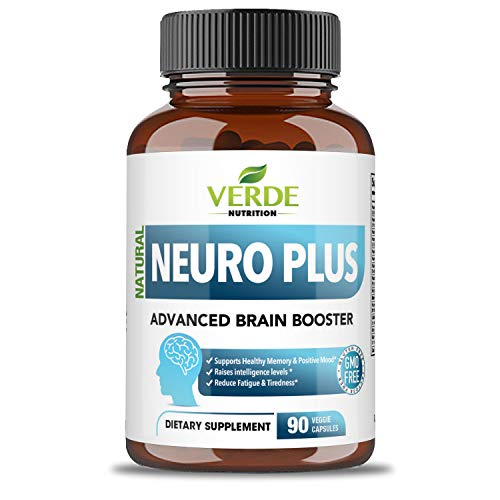 Verde Nutrition Neuro Plus Advanced Brain Booster   Premium Brain Function Supplement   Improves Memory, Focus & Mental Performance   Reduces Stress & Fatigue   100% All-Natural Nootropic