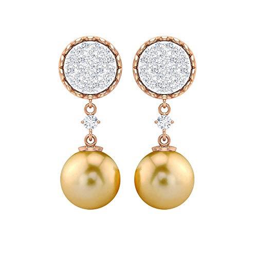 Pendientes de perlas de mar del Sur de 8 mm, pendientes de diamante, pendientes de gota dorada, con rosca