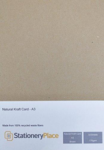 briefpapier plaats dikke bruin gerecycled natuurlijke kraft kaart A3 170 GSM 50 vel pakket