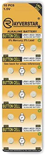 Rayverstar LR41 AG3 1 5 Volt Alkaline 10 Batteries Fits 392 192 SR41 384 736 L736F Full List product image