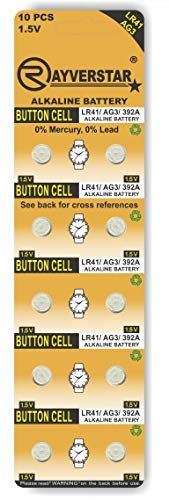 Rayverstar LR41 AG3 1.5 Volt Alkaline (10-Batteries) Fits: 392, 192, SR41, 384, 736, L736F (Full List Below)