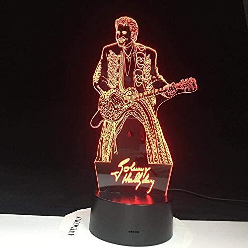 Lámpara de ilusión 3D Luz de noche Led Johnny Hallyday Tocando la...