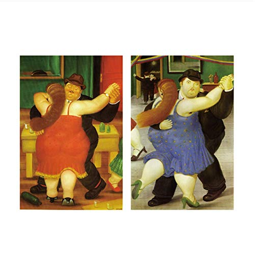 HHLSS Wandbilder 2x40x60cm ohne Rahmen Nordic Dancer Von Fernando Botero Berühmte Poster und Drucke Abstract Funny Art Pictures Decor