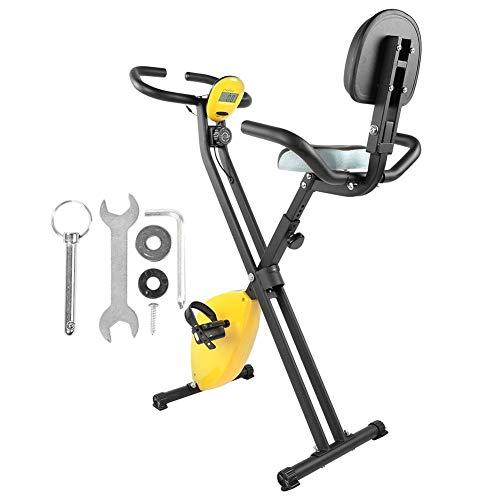 AYNEFY Bicicleta estática, Bicicleta estática Plegable, Stepper de Acero, máquina de Entrenamiento para Interiores con Manillar LED (130 x 41,5 x 37 cm)