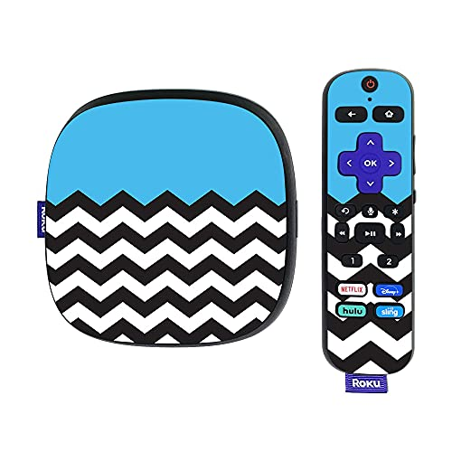 MightySkins Skin Compatible with Roku Ultra HDR 4K Streaming Media Player (2020) - Baby Blue Chevron | Protective, Durable, and Unique Vinyl Decal wrap Cover | Easy to Apply | Made in The USA